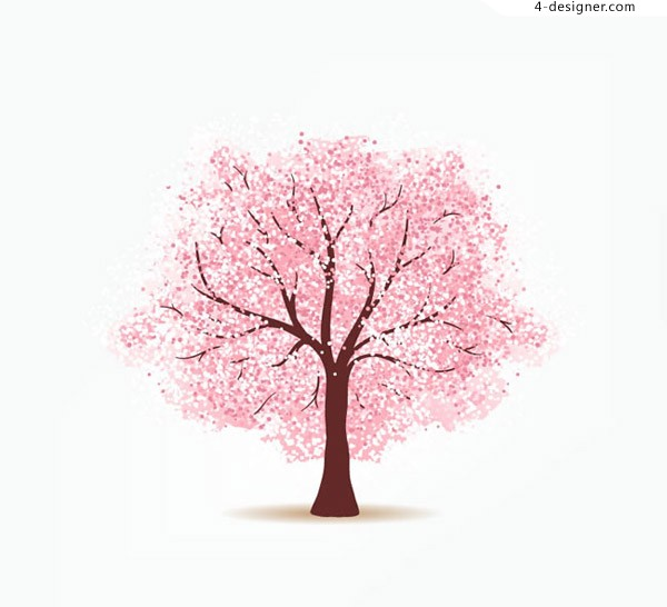 Pink cherry tree vector