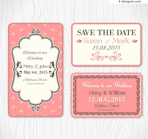 Pink wedding card