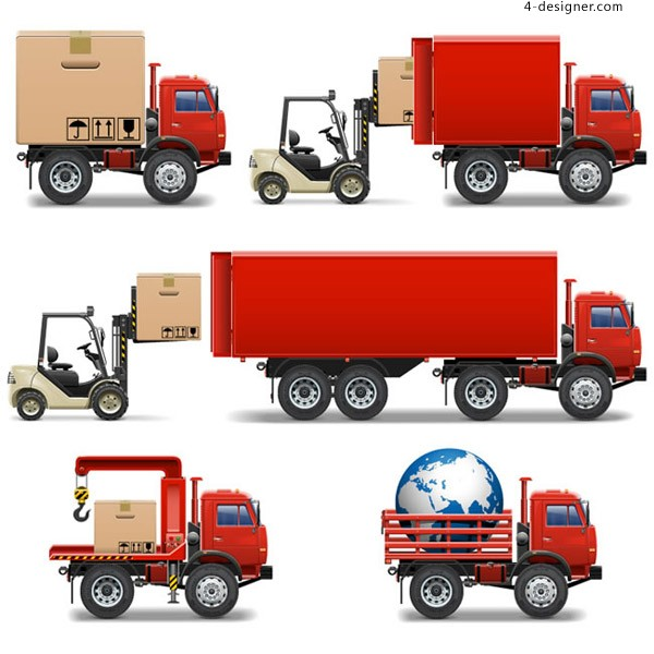 Red forklift and truck