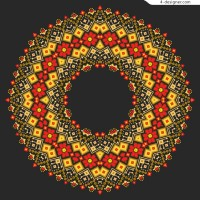 Ring vector of knitted flowers