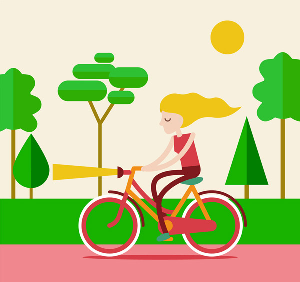 A blonde woman riding a bicycle