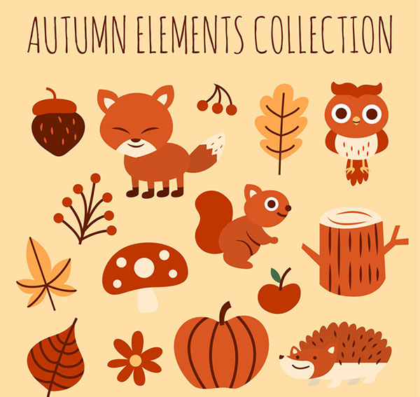 Autumn animals and plants