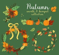 Autumn garlands and bouquets