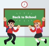 Back to school male and female vectors