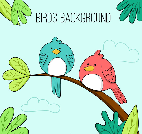 Birds on a cartoon branch