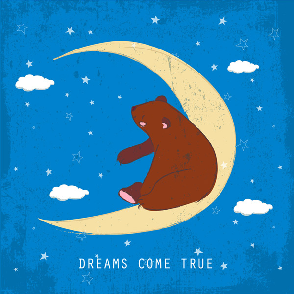 Brown bear on the crescent moon