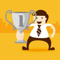 Business people with trophies