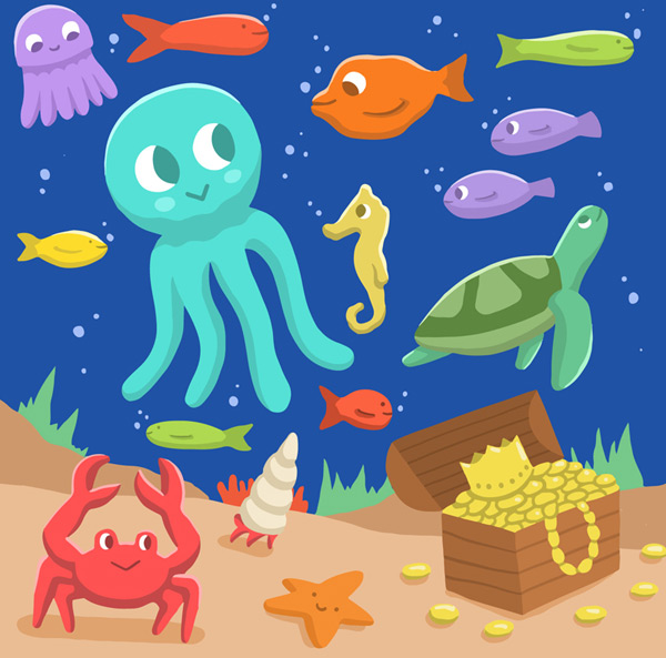 Cartoon underwater world
