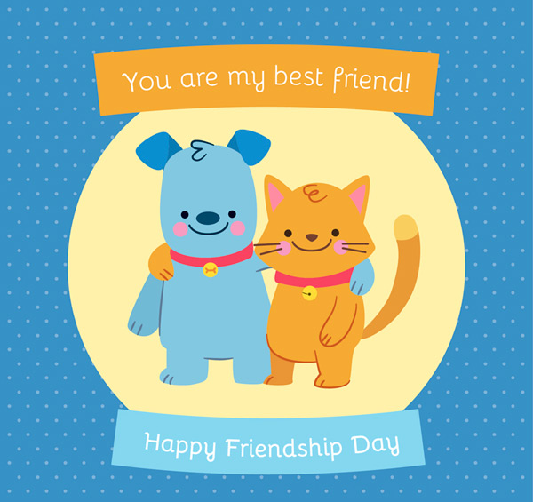 Cat and dog Friendship Day card