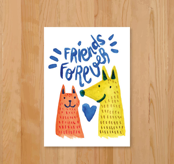 Cat and dog head friendship card