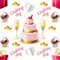 Champagne and cake background