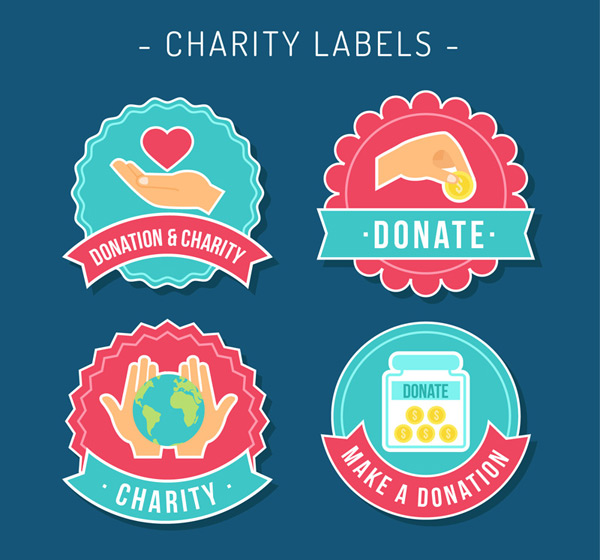 Charity donation label