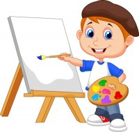 Children with cartoon drawing