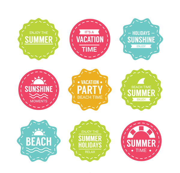 Color summer vacation label