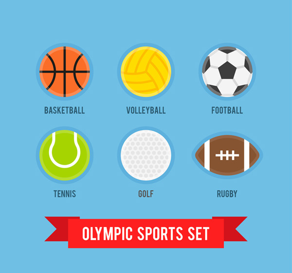 Colorful Olympic ball games