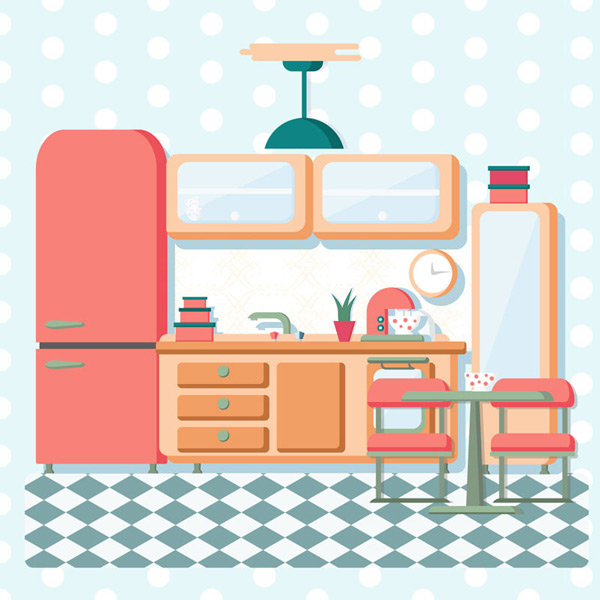 Colorful clean kitchen