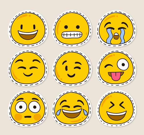 Cute expression sticker vector