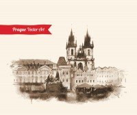 European architecture ink painting