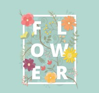 Flower art word vector