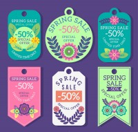 Flower spring promotional Tags