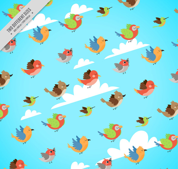Flying birds seamless background