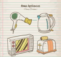 Hand drawn household appliances