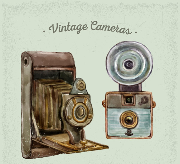Hand drawn retro camera