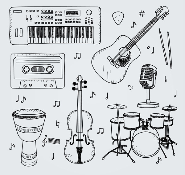Hand painted musical instrument design