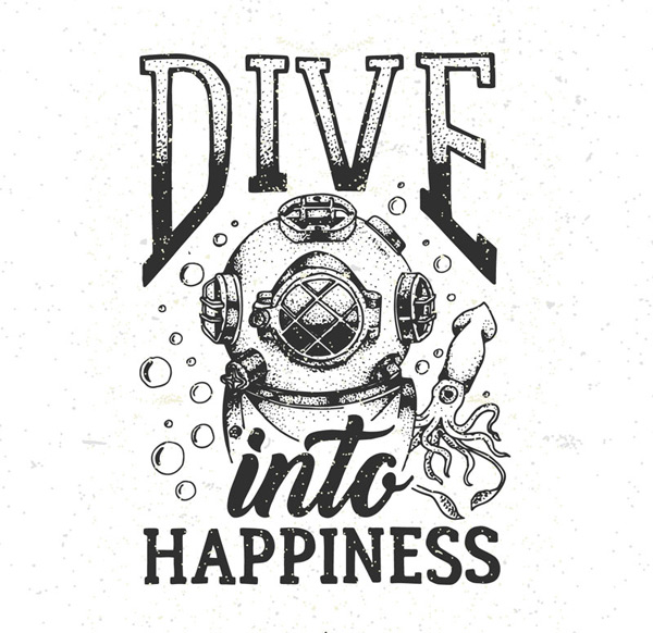 Hand painted retro diving elements