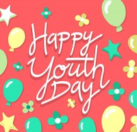 Happy youth festival art words