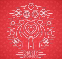 Holding love and charity background