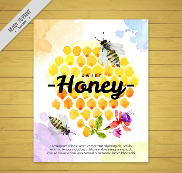 Honeycomb and bee cards
