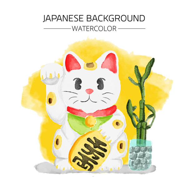 Japanese cat vector