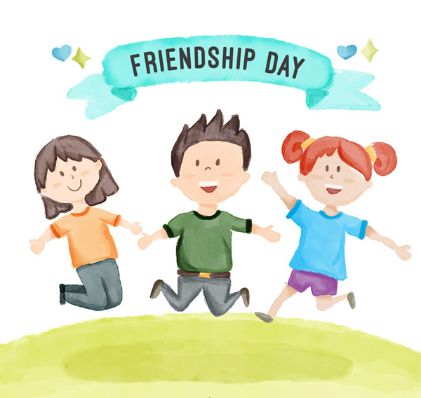Jumping on friendship day