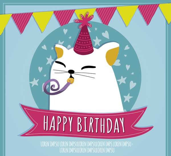 Lovely white cat birthday card