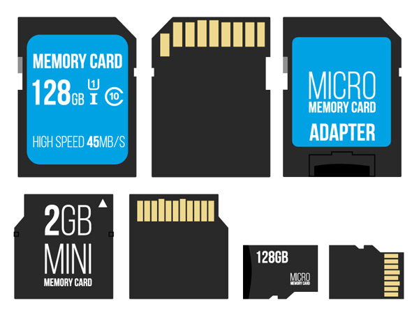 Memory card front and back