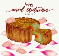 Moon cakes and petals on Mid Autumn Festival