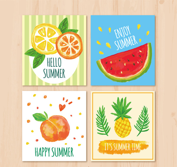 Painted summer fruit cards