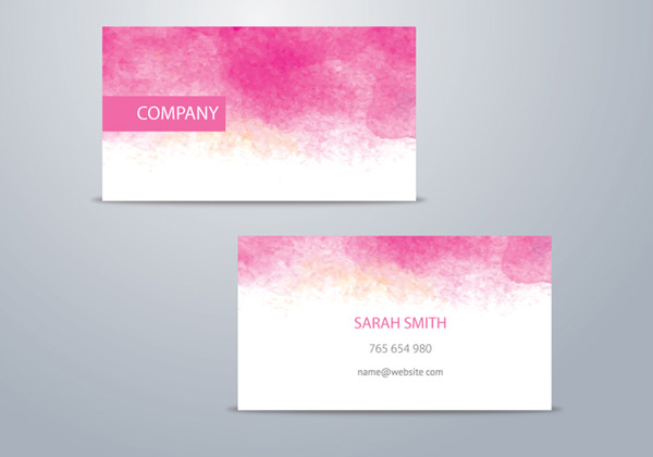 Pink watercolor business card