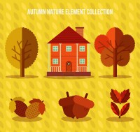 Plants and houses in autumn