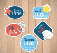 Promotional labels for ocean elements