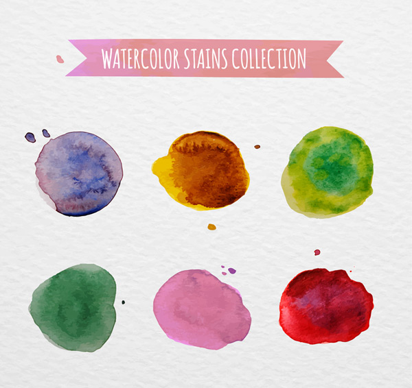 Round colored ink stains