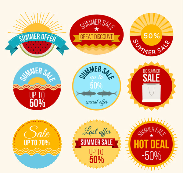 Round summer promotional labels