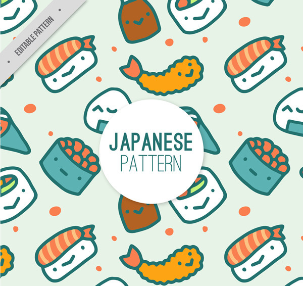 Seamless background of Japanese cuisine
