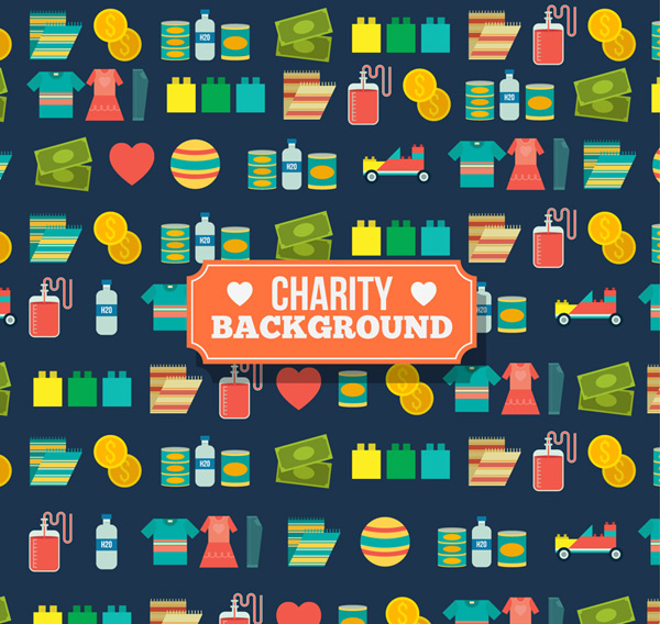 Seamless background of charity elements