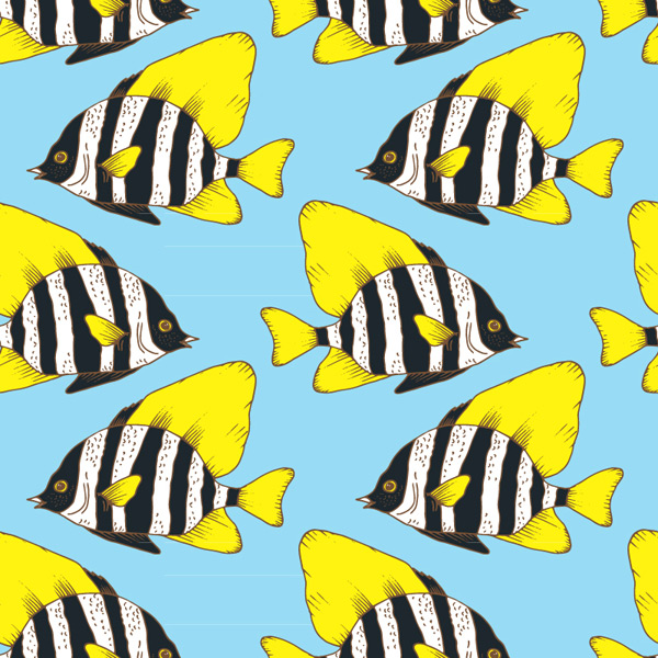 Seamless background of coral fish