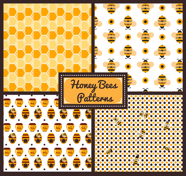 Seamless background of honeybee elements