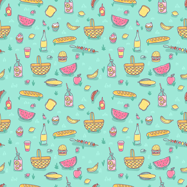 Seamless background of picnic food