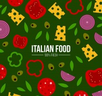 Seamless background of pizza ingredients