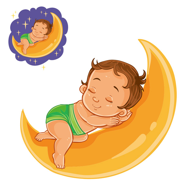 Sleeping baby on the moon